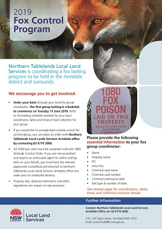 63 2019 Fox Baiting Control Program Flyer June July Page 1